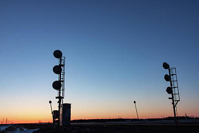 Photograph - Railway Signal Towers At Sunset by Steve Boyko