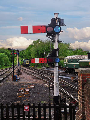 Train Station Photograph - Railway Signals by Gill Billington