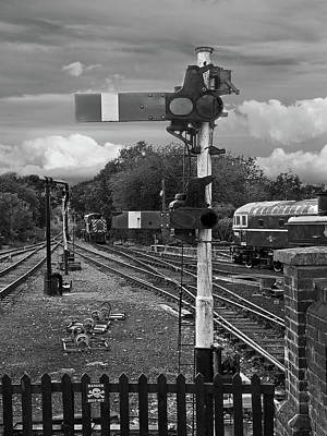Photograph - Railway Signals In Black And White by Gill Billington