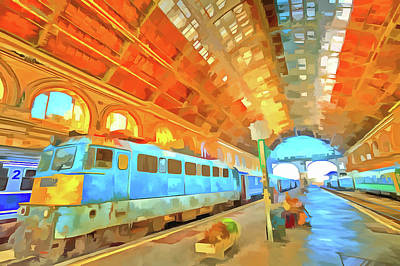 Mixed Media - Railway Station Pop Art by David Pyatt