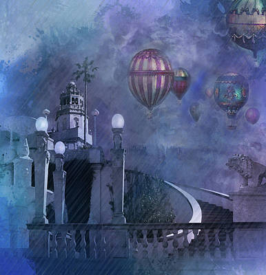 Digital Art - Rain And Balloons At Hearst Castle by Jeff Burgess