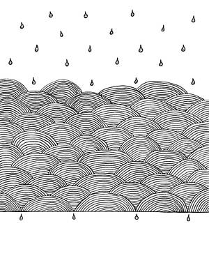 Rain Drawing - Rain And Sea by Konstantin Sevostyanov