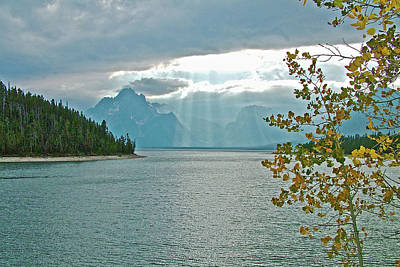 Photograph - Rain And Sun On Jackson Lake In Grand Tetons National Park, Wyoming  by Ruth Hager