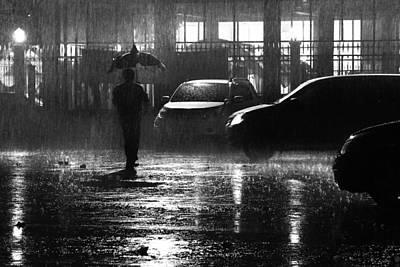 Street Photograph - Rain At Night by Ayatullah R. Hiba