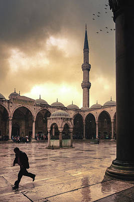 Streetshot Photograph - Rain At The Blue Mosque by Marji Lang