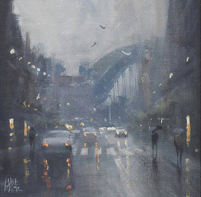 Wall Art - Painting - Rain At The Rocks - Sydney by Mike Barr
