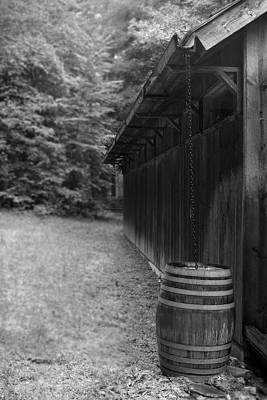 Rain Barrel Digital Art - Rain Chain Bw by Gary Conner