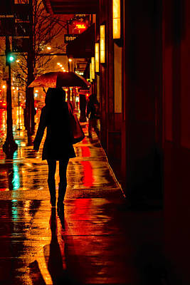 Photograph - Rain - City Night - Woman With Umbrella by Nikolyn McDonald