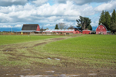 Photograph - Rain Clouds Red Barns by Tom Cochran