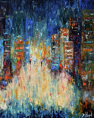 Wall Art - Painting - Rain Dance Blues by Debra Hurd