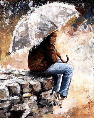 Umbrella Painting - Rain Day by Emerico Imre Toth