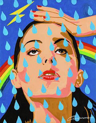 Hand On Head Painting - Rain Drop Lady by Joe Ciccarone