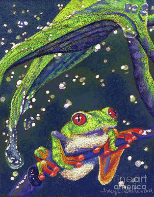 Rain Drops - Tree Frog Print by Tracy L Teeter