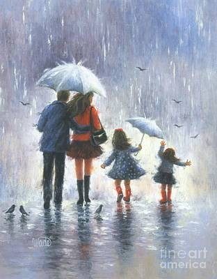Two Sisters Painting - Rain Family Two Girls by Vickie Wade