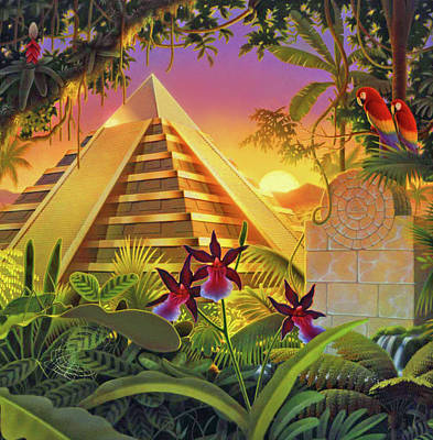Painting - Rain Forest Pyramid  by Robin Moline