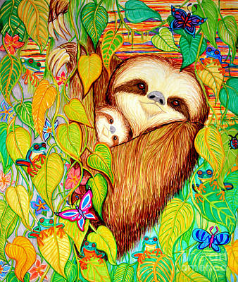Animals Drawings - Rain Forest Survival Mother and Baby Three Toed Sloth by Nick Gustafson
