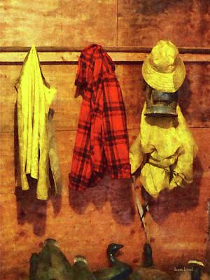 Raincoats Photograph - Rain Gear And Red Plaid Jacket by Susan Savad