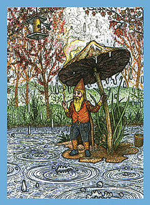 Bird Feeder Drawing - Rain Gnome by Bill Perkins