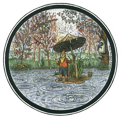 Rain Gnome Rain Circle Print by Bill Perkins