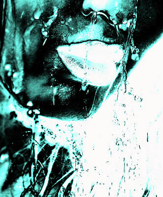 Lips Photograph - Rain Ice Blue by Prar Kulasekara