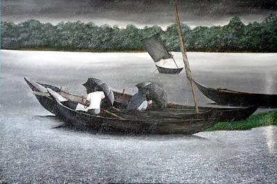 Rain In Bangladesh- An Acrylic Painting Art Print by Fahad Hossain