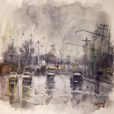 Rain In Niagara Falls Blvd Art Print by Ylli Haruni