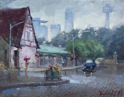 Rainy Day Painting - Rain In Old Falls Street by Ylli Haruni