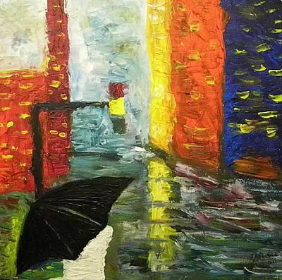 Painter Mixed Media - Rain In The City by Carmen Kolcsar