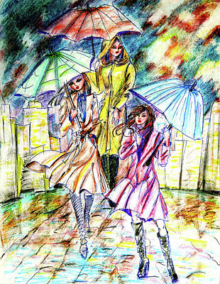 Girl Drawing - Rain In The City  by Yelena Rubin