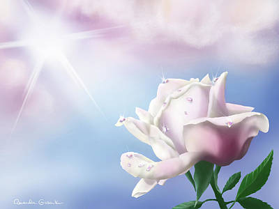 Summer Thunderstorm Painting - Rain Kissed White Rose by Amanda Gusack