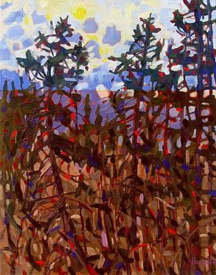 Rain Lake Pines Original by Phil Chadwick