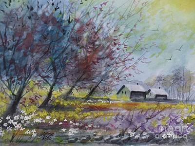 Bir Painting - Rain Near, Watercolor Painting by David K Myers