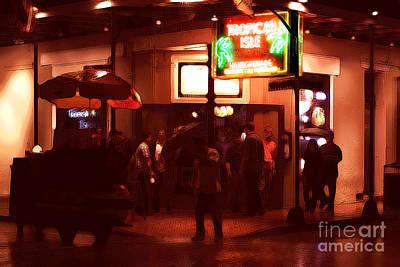 Big Easy Digital Art - Rain On Bourbon Street by John Rizzuto