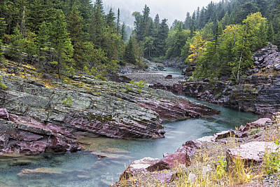 Photograph - Rain On Mcdonald Creek In Glacier Np by Belinda Greb