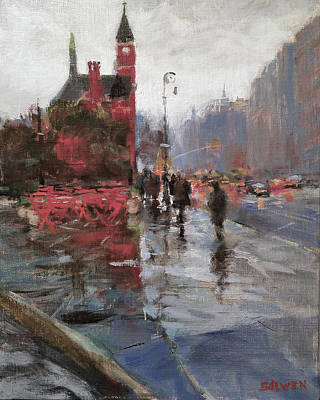 Painting - Rain On Sixth Avenue by Peter Salwen
