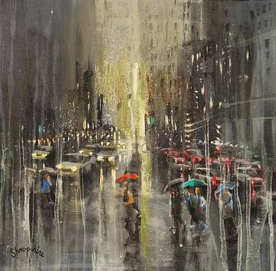 Rain On Wisconsin Avenue Original by Tom Shropshire