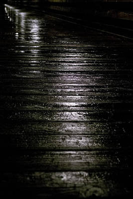 Photograph - Rain On Wooden Pier by Mary Lee Dereske