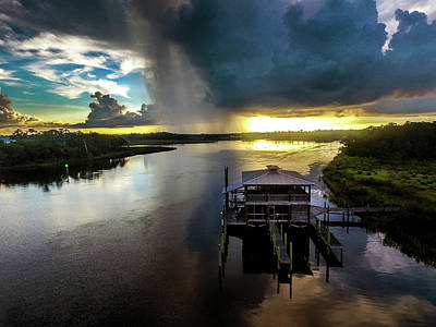 Photograph - Rain Over Boathouse On The Bon Secour River by Michael Thomas