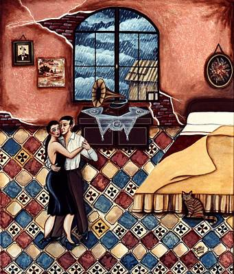 Bello Painting - Rain, Romance And Tango by Graciela Bello