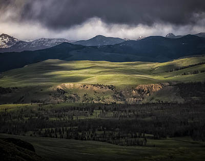 Dappled Light Photograph - Rain Storm Over Yellowstone by Kirby Flanagan