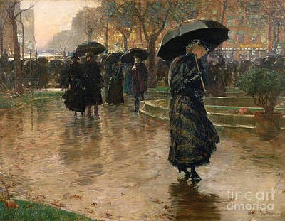 Crowd Scene Painting - Rain Storm Union Square by Childe Hassam