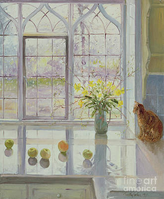 Orange Painting - Rain Watching by Timothy Easton