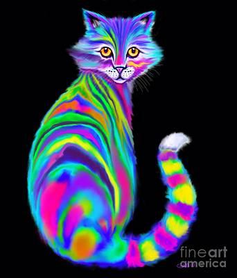 Digital Art - Rainbow Alley Cat by Nick Gustafson