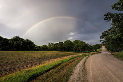 Photograph - Rainbow And Country Road by Scott Bean