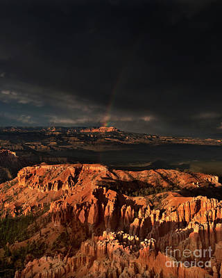 Photograph - Rainbow And Thunderstorm Over The Paunsaugunt Platea In Bryce Canyon by Dave Welling