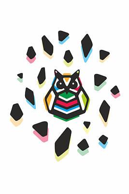 Athena Digital Art - Rainbow Anigami Owl by Julia Jasiczak