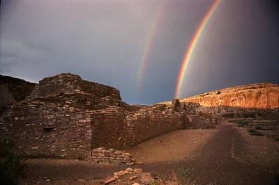 Chaco Canyon Photograph - Rainbow At Chetro Kettle by John Foote