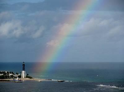 Rainbow At Lighthouse Art Print