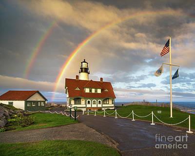 Rainbow At Portland Head Light Art Print