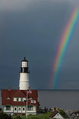Photograph - Rainbow At Portland Head Light by Jesse MacDonald